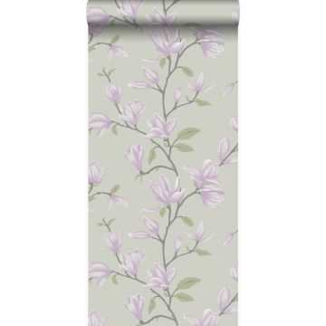 wallpaper magnolia teal and lilac purple from Origin