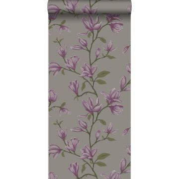 wallpaper magnolia taupe and eggplant purple from Origin