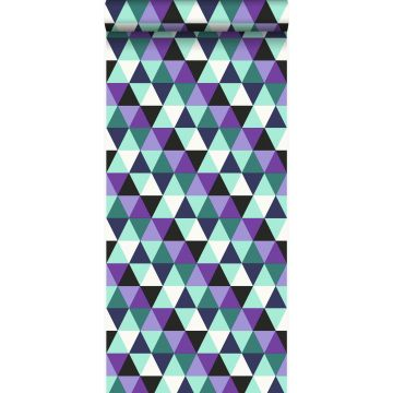 wallpaper graphic triangles purple and light azure blue from Origin