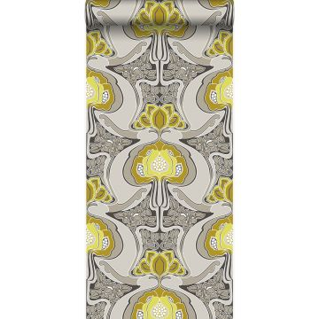 wallpaper Art Nouveau floral pattern mustard and gray from Origin