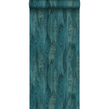 eco texture non-woven wallpaper leaves teal from Origin