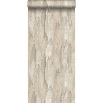 eco texture non-woven wallpaper leaves sand beige from Origin