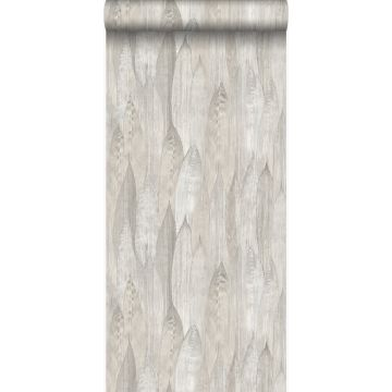 eco texture non-woven wallpaper leaves light beige from Origin