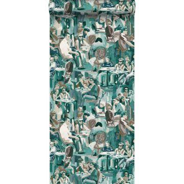 wallpaper figurative design emerald green from Origin