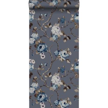 wallpaper flowers vintage blue and taupe from Origin