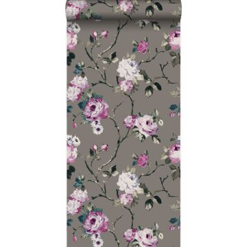 wallpaper flowers taupe and lilac purple from Origin