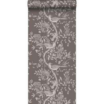 wallpaper bird engraving dark gray from Origin