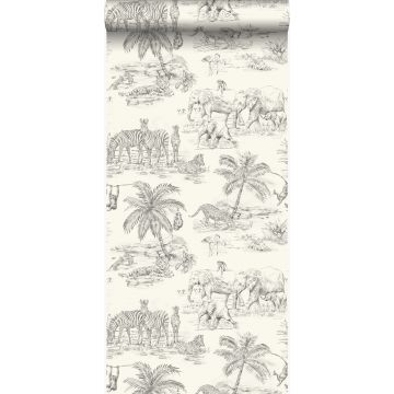 wallpaper jungle ivory white and gray from Origin