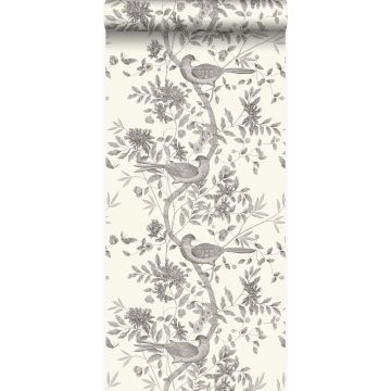 wallpaper bird engraving ivory white and gray from Origin