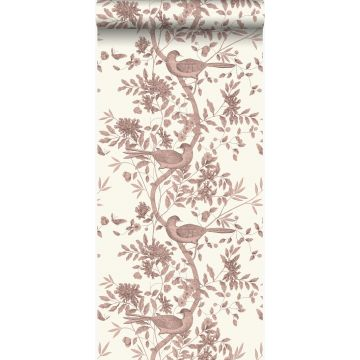 wallpaper bird engraving ivory white and shiny copper brown from Origin