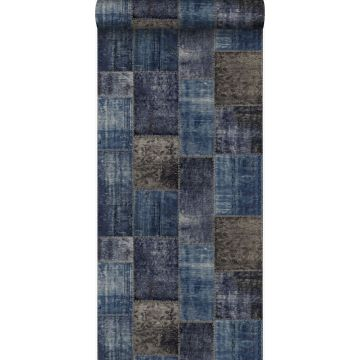 wallpaper patchwork kilim taupe and blue from Origin