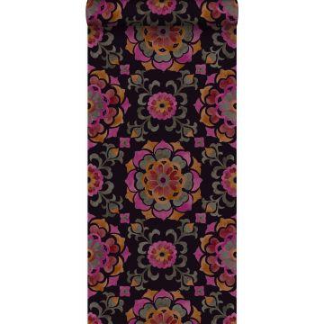 wallpaper suzani flowers black, orange and pink from Origin