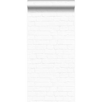 wallpaper vintage painted brick wall matt white from Origin