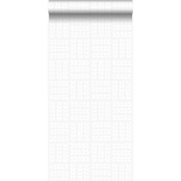 wallpaper leaves matt white and shiny silver grey from Origin
