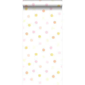 wallpaper polka dots pastel yellow, pastel peach orange, pastel powder pink and matt white from Origin