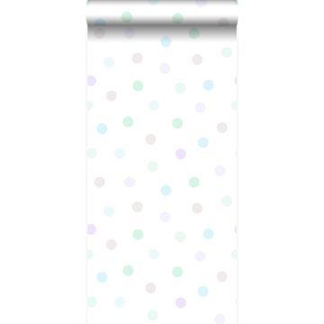 wallpaper polka dots pastel lila, mint green, shiny silver grey and pastel blue from Origin