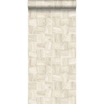 eco texture non-woven wallpaper square pieces of scrap wood beige from Origin