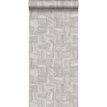 eco texture non-woven wallpaper square pieces of scrap wood light gray from Origin