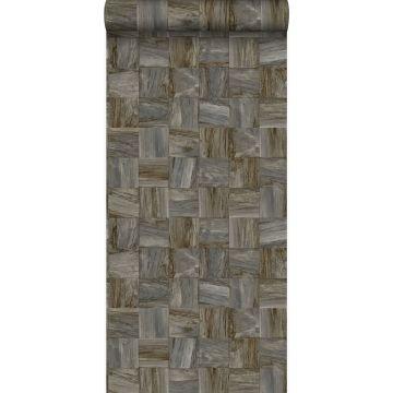 eco texture non-woven wallpaper square pieces of scrap wood dark brown from Origin