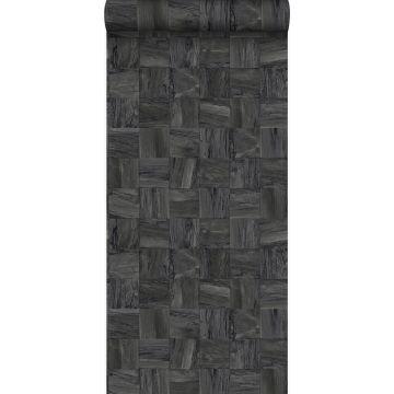 eco texture non-woven wallpaper square pieces of scrap wood black from Origin