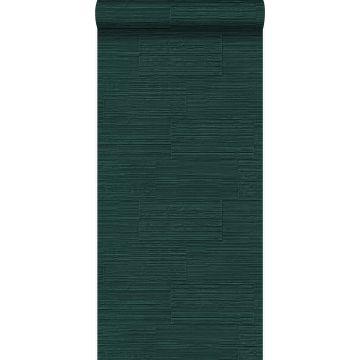 wallpaper rough retro natural stone blocks in half-brick bond emerald green from Origin