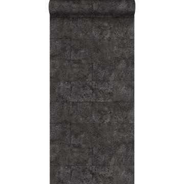wallpaper limestone blocks in half-brick bond black from Origin