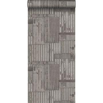 wallpaper industrial metal corrugated sheets 3D dark gray from Origin