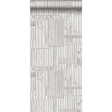wallpaper industrial metal corrugated sheets 3D off-white from Origin