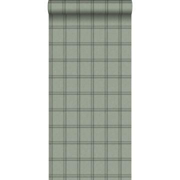 eco texture non-woven wallpaper rhombus motif grayish green from Origin