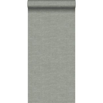 wallpaper linen texture grayish green from Origin