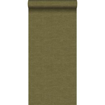 wallpaper linen texture mustard green from Origin