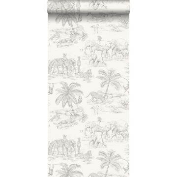 wallpaper pen drawn safari shiny white and silver grey from Origin