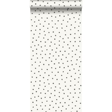 wallpaper polka dots shiny white and black from Origin
