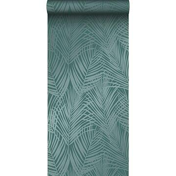 wallpaper palm leaves emerald green from Origin