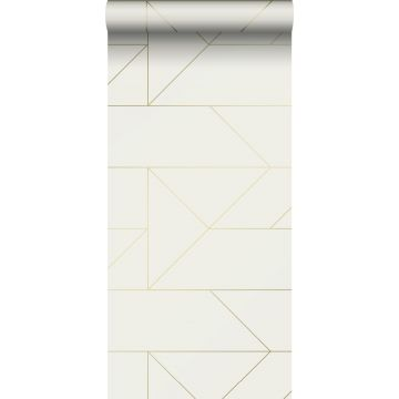 wallpaper graphic lines beige and gold from Origin