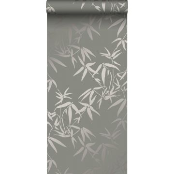 wallpaper bamboo leaves warm gray from Origin