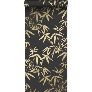 wallpaper bamboo leaves black and gold from Origin