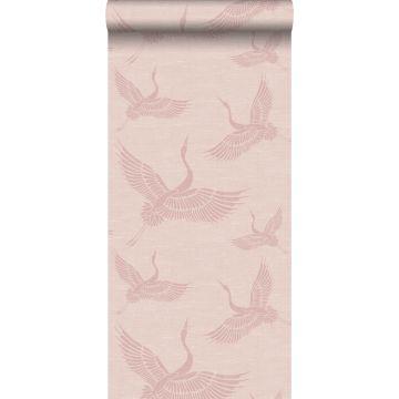 wallpaper crane birds antique pink from Origin