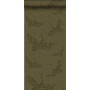 wallpaper crane birds mustard green from Origin