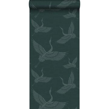 wallpaper crane birds teal from Origin