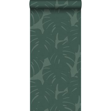 wallpaper leaves with woven structure sea green from Origin