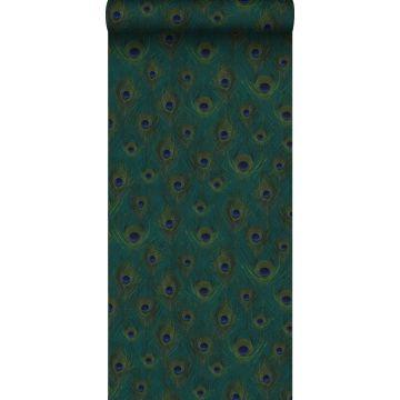 eco texture non-woven wallpaper peacock feathers sea green from Origin