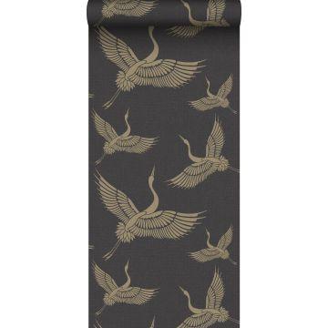 wallpaper crane birds black and gold from Origin