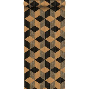 non-woven wallpaper XXL grasscloth in graphic motif light brown and dark brown from Origin