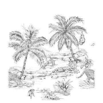 wall mural pen drawn safari black and white from Origin