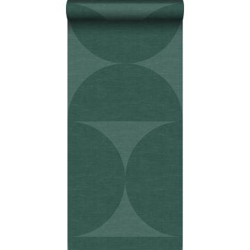 non-woven wallpaper XXL semicircles dark green from Origin