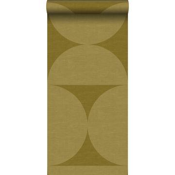 non-woven wallpaper XXL semicircles mustard green from Origin