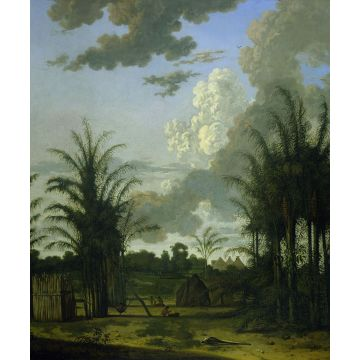 wall mural tropical landscape green, blue and mustard green from Origin