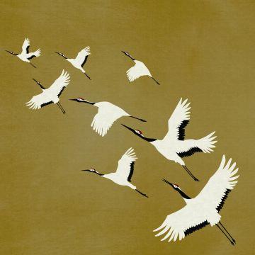 wall mural crane birds mustard from Origin