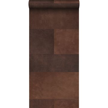 non-woven wallpaper XXL tile motif with leather look brown from Origin